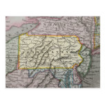 Mapa del vintage de Pennsylvania Tarjeta Postal