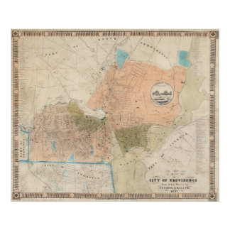 Mapa del vintage de Providence Rhode Island (1851) Póster