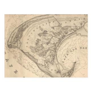 Mapa del vintage de Provincetown (1836) Postal