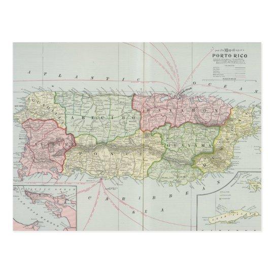 Mapa del vintage de Puerto Rico (1901) Postal