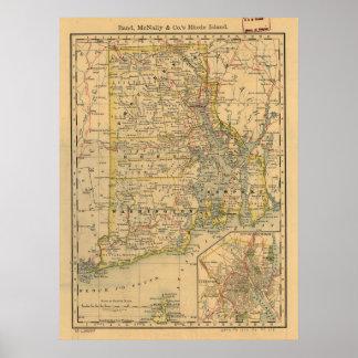 Mapa del vintage de Rhode Island (1875) Póster