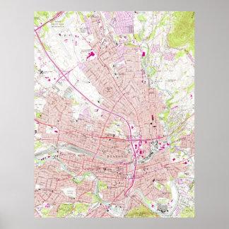 Mapa del vintage de Roanoke Virginia (1963) Póster
