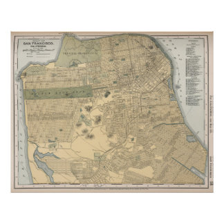 Mapa del vintage de San Francisco CA (1891) Póster
