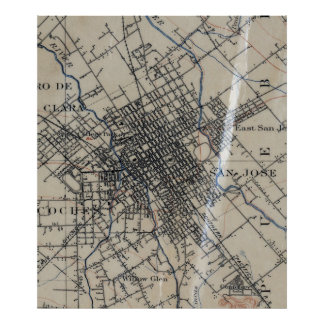 Mapa del vintage de San Jose California (1895) Póster