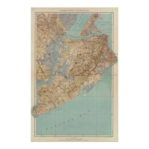 Mapa del vintage de Staten Island (1891) Impresiones