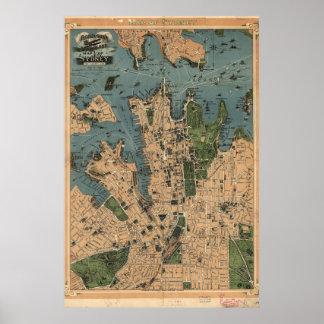 Mapa del vintage de Sydney, Australia Póster