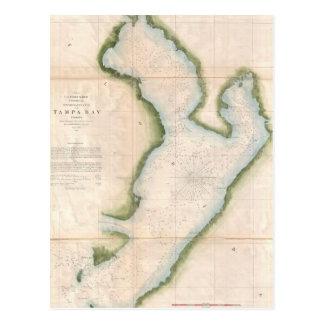 Mapa del vintage de Tampa Bay costera (1855) Postal