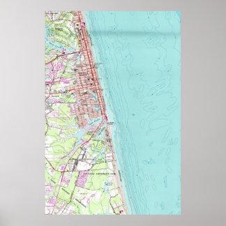 Mapa del vintage de Virginia Beach (1965) Póster