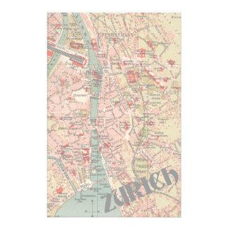 Mapa del vintage de Zurich Papelería
