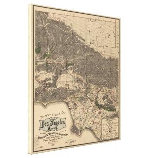 Mapa del vintage del condado de Los Angeles CA Impresion De Lienzo
