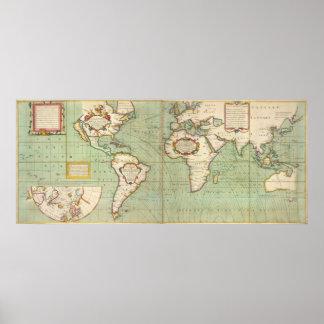 Mapa del vintage del mundo (1702) póster