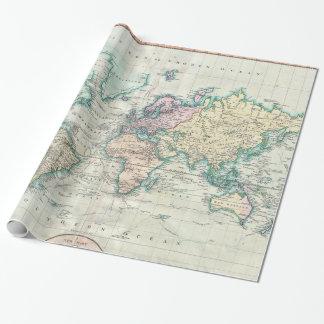 Mapa del vintage del mundo (1801) papel de regalo