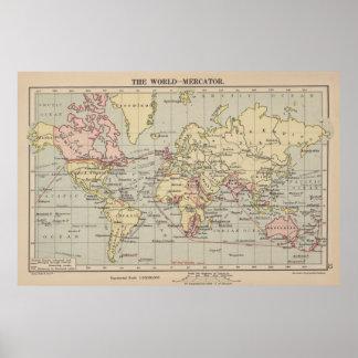 Mapa del vintage del mundo (1914) póster