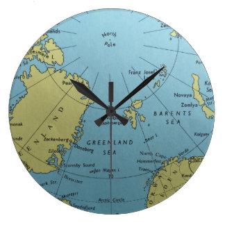 Mapa del vintage del reloj de Polo Norte