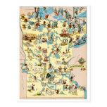 Mapa divertido del vintage de Minnesota Tarjeta Postal