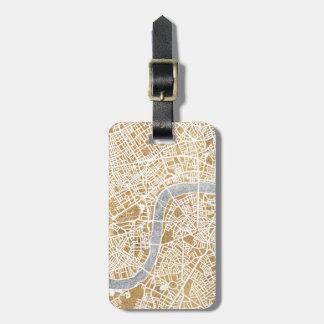 Mapa dorado de la ciudad de Londres Etiquetas Para Maletas