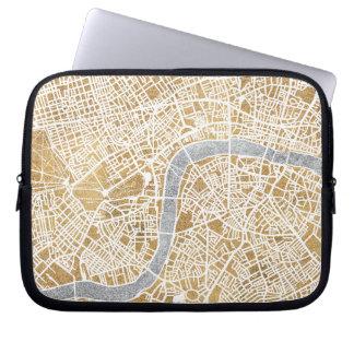 Mapa dorado de la ciudad de Londres Funda Para Portátil