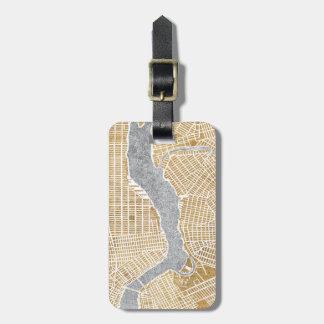 Mapa dorado de la ciudad de Nueva York Etiquetas Para Maletas