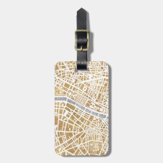 Mapa dorado de la ciudad de París Etiquetas Para Maletas