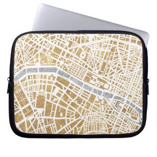 Mapa dorado de la ciudad de París Funda Para Portátil