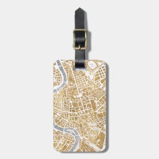 Mapa dorado de la ciudad de Roma Etiquetas Para Maletas