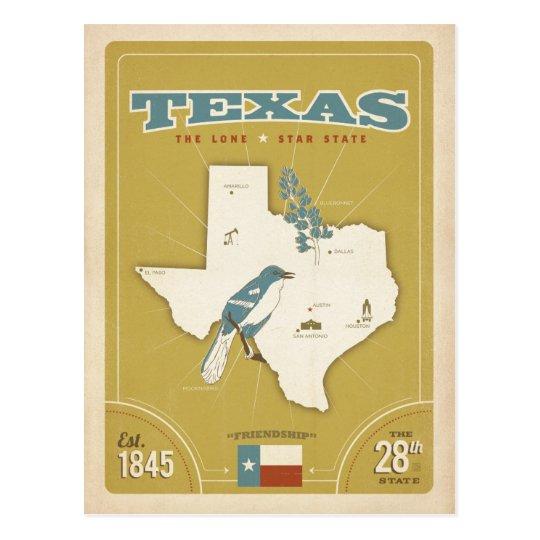 Mapa el | del estado de Tejas el estado solitario Postal