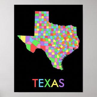 Mapa en colores pastel bonito del arco iris de poster