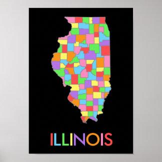 Mapa en colores pastel del arco iris de Illinois Póster