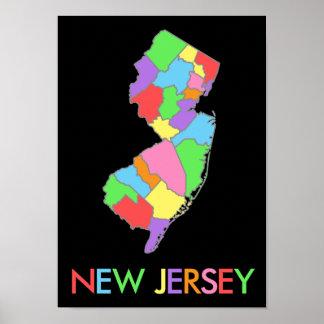 Mapa en colores pastel del arco iris de New Jersey Impresiones