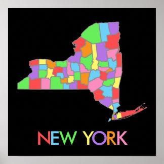 Mapa en colores pastel del arco iris de Nueva York Impresiones