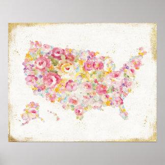 Mapa floral de los E.E.U.U. Póster