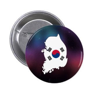 Mapa fresco de la bandera de la Corea del Sur Chapa Redonda 5 Cm