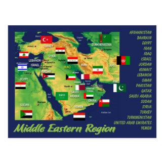 Mapa geográfico de los países Oriente Medios con Postal