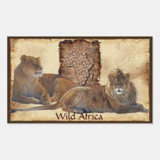 Mapa grande cinco de los LEONES AFRICANOS de los Rectangular Pegatinas