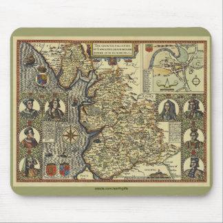 Mapa histórico 1610 de Lancaster, Inglaterra Mouse Alfombrilla De Ratón