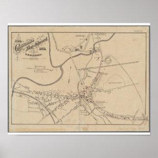 Mapa histórico 1875 del mA de la concordia Póster