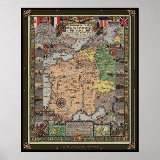 Mapa histórico - cuerpo expedicionario americano póster