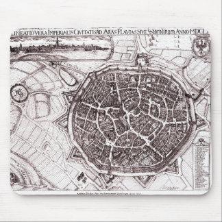Mapa histórico de Nordlingen, Alemania en 1651 Alfombrilla De Ratón