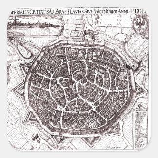 Mapa histórico de Nordlingen, Alemania en 1651 Pegatina Cuadrada