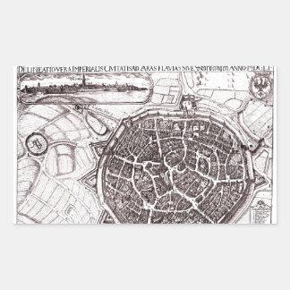 Mapa histórico de Nordlingen, Alemania en 1651 Pegatina Rectangular