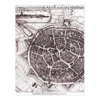 Mapa histórico de Nordlingen, Alemania en 1651 Postal