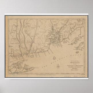 Mapa histórico de Rhode Island 1780 Póster