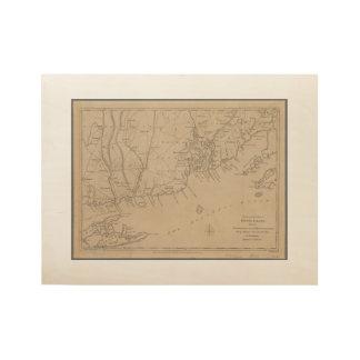 Mapa histórico de Rhode Island 1780 Póster De Madera