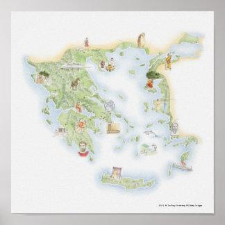 Mapa ilustrado de Grecia antigua Posters
