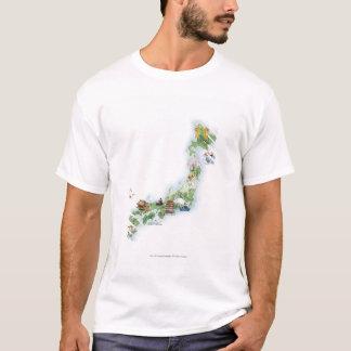 Mapa ilustrado de Japón antiguo Camiseta