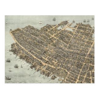 Mapa ilustrado del vintage de Charleston (1872) Postal