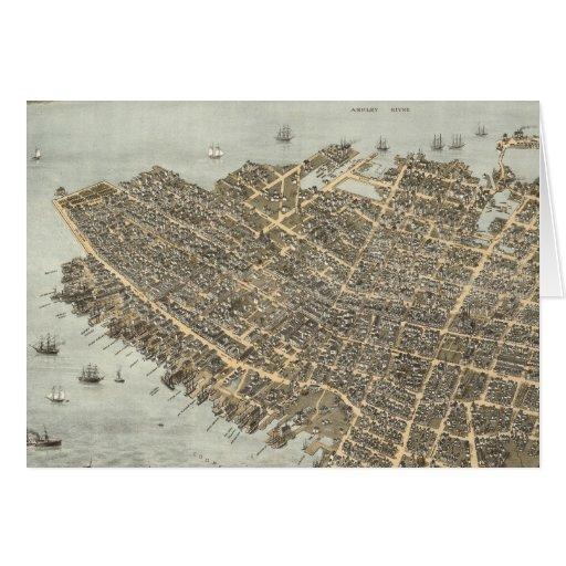 Mapa ilustrado del vintage de Charleston (1872) Felicitaciones