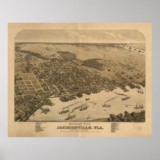 Mapa ilustrado del vintage de Jacksonville FL Póster