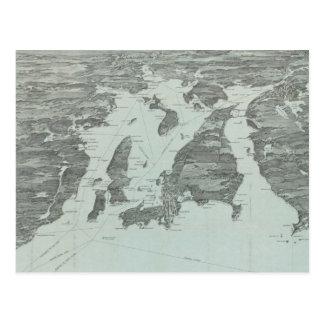 Mapa ilustrado del vintage de la bahía de postal
