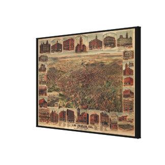 Mapa ilustrado del vintage de Los Ángeles (1891) Lona Envuelta Para Galerias